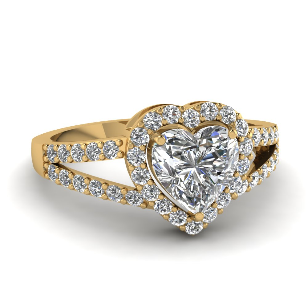 heart shaped diamond engagement ring in 14K yellow gold FD1034HTR NL YG