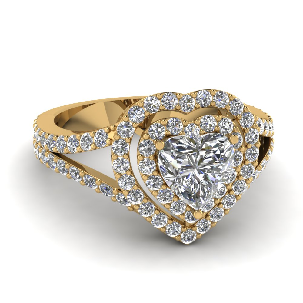 Heart Double Halo Engagement Rings
