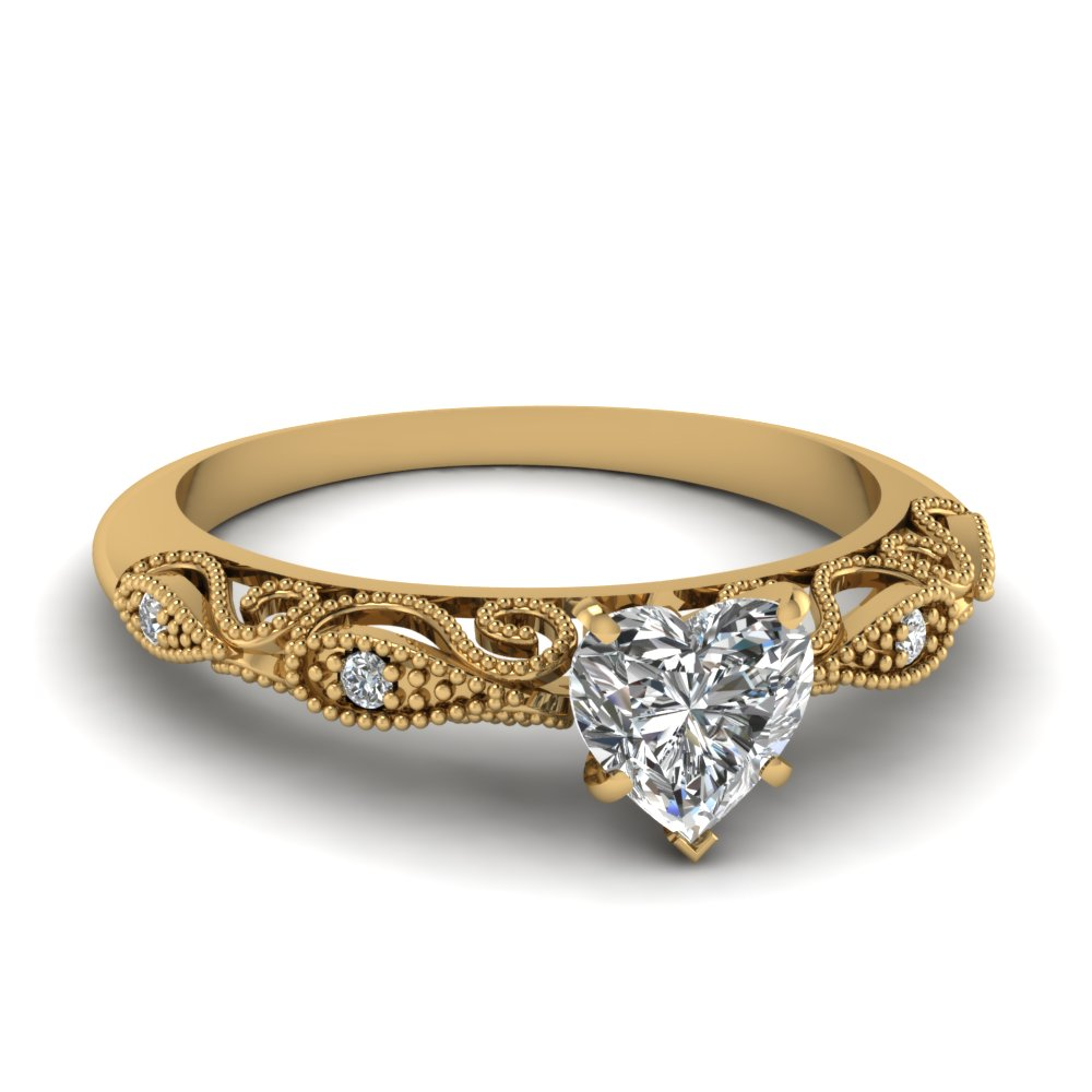 heart shaped paisley diamond ring in 14k yellow gold. Black Bedroom Furniture Sets. Home Design Ideas