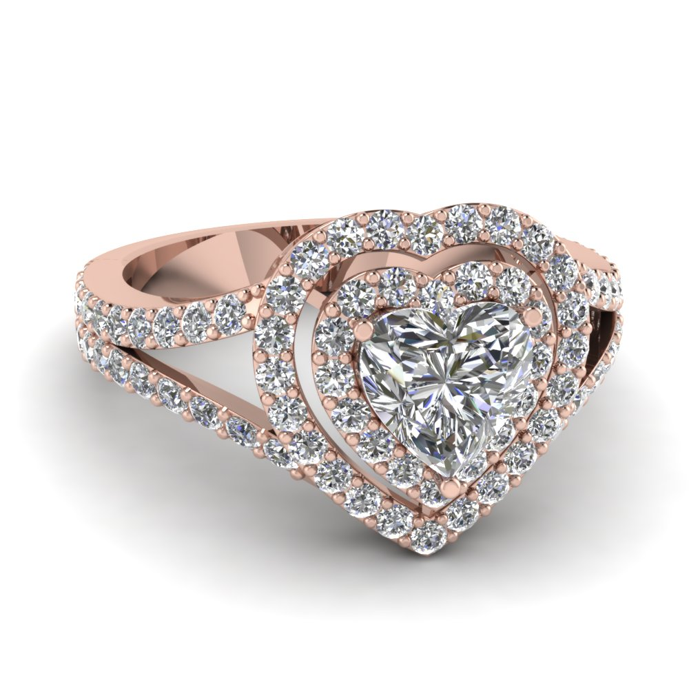 Heart Diamond Rose Gold Double Halo Ring