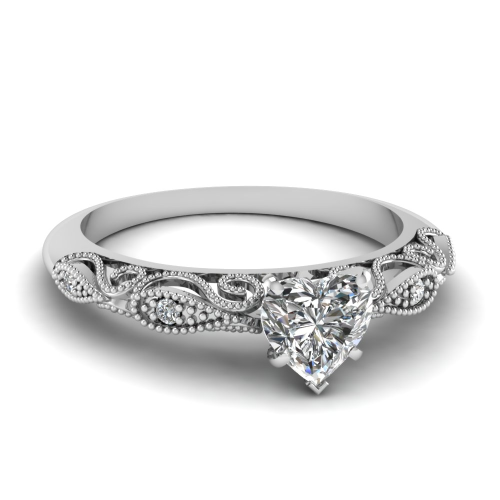 Heart Shaped Paisley Diamond Ring In 18K White Gold Fascinating