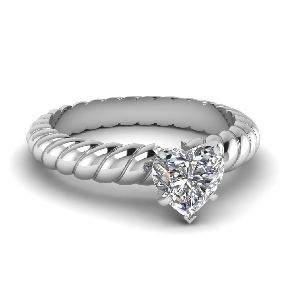 heart shaped rope solitaire engagement ring in FDENS1793HTR NL WG