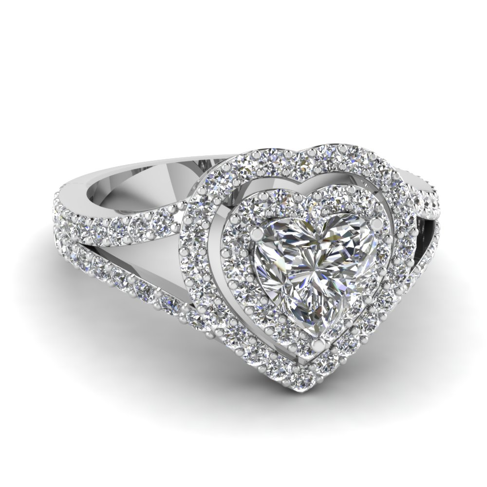 Heart Diamond Platinum Double Halo Ring