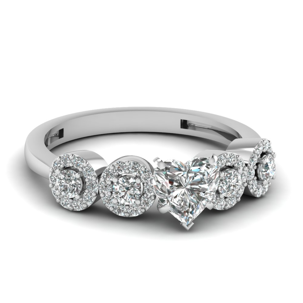 Heart Shaped Side Stone Platinum Engagement Rings