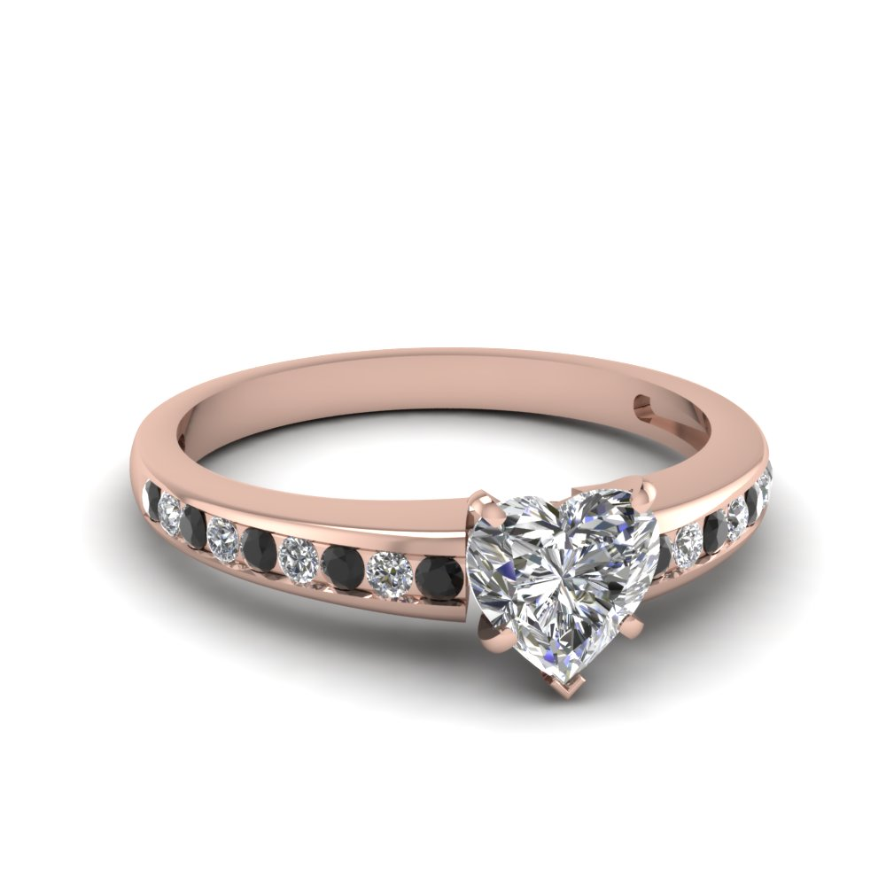 Heart Shaped Diamond Side Stone Engagement Rings With Black Diamond In 14k  Rose Gold