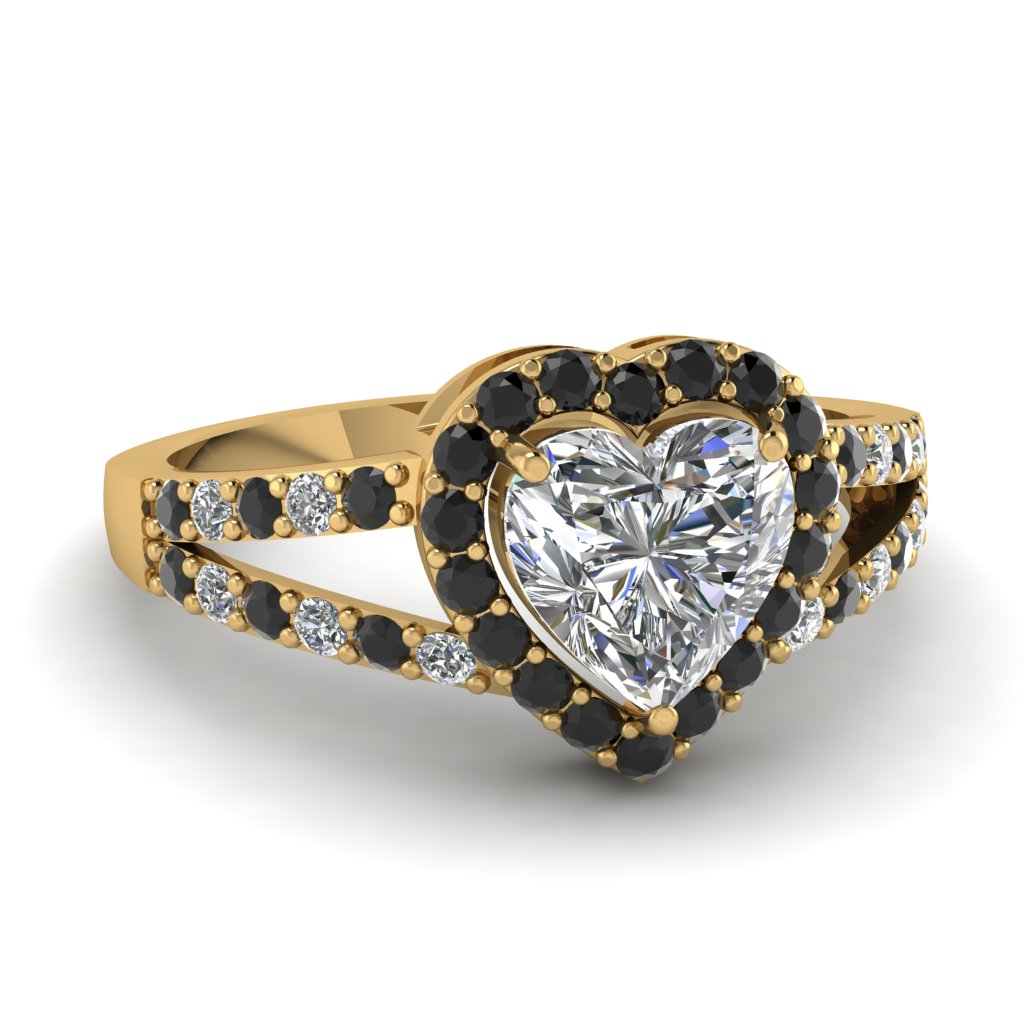 heart halo micro pave ring with black diamond in 14K yellow gold FD1034HTRGBLACK NL YG
