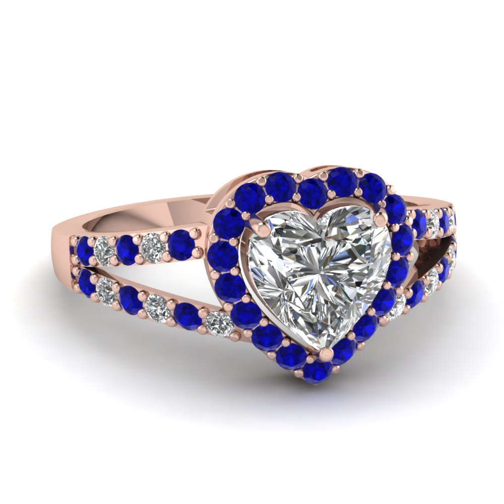 heart shaped diamond engagement ring with blue sapphire in 14K rose gold FD1034HTRGSABL NL RG
