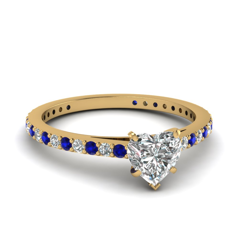 classic delicate heart shaped diamond engagement ring with sapphire in FDENS1425HTRGSABL NL YG