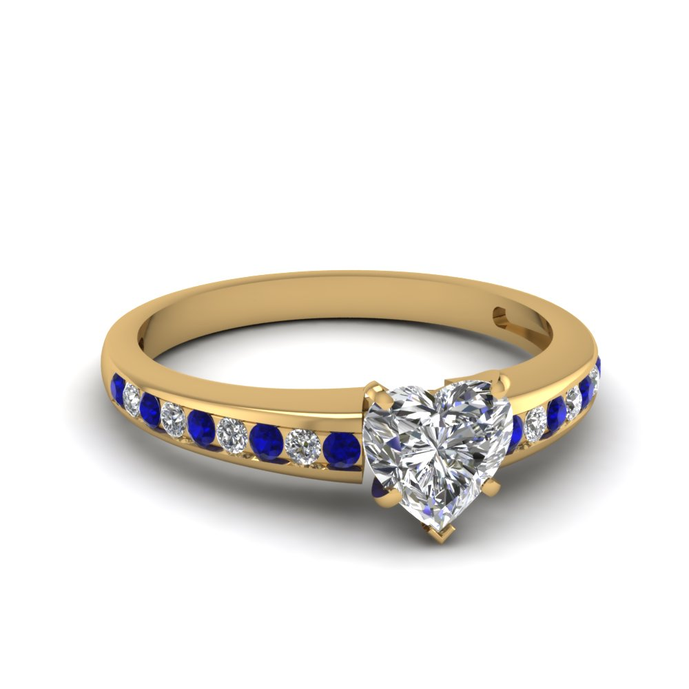 Heart Shaped Diamond & Sapphire Rings