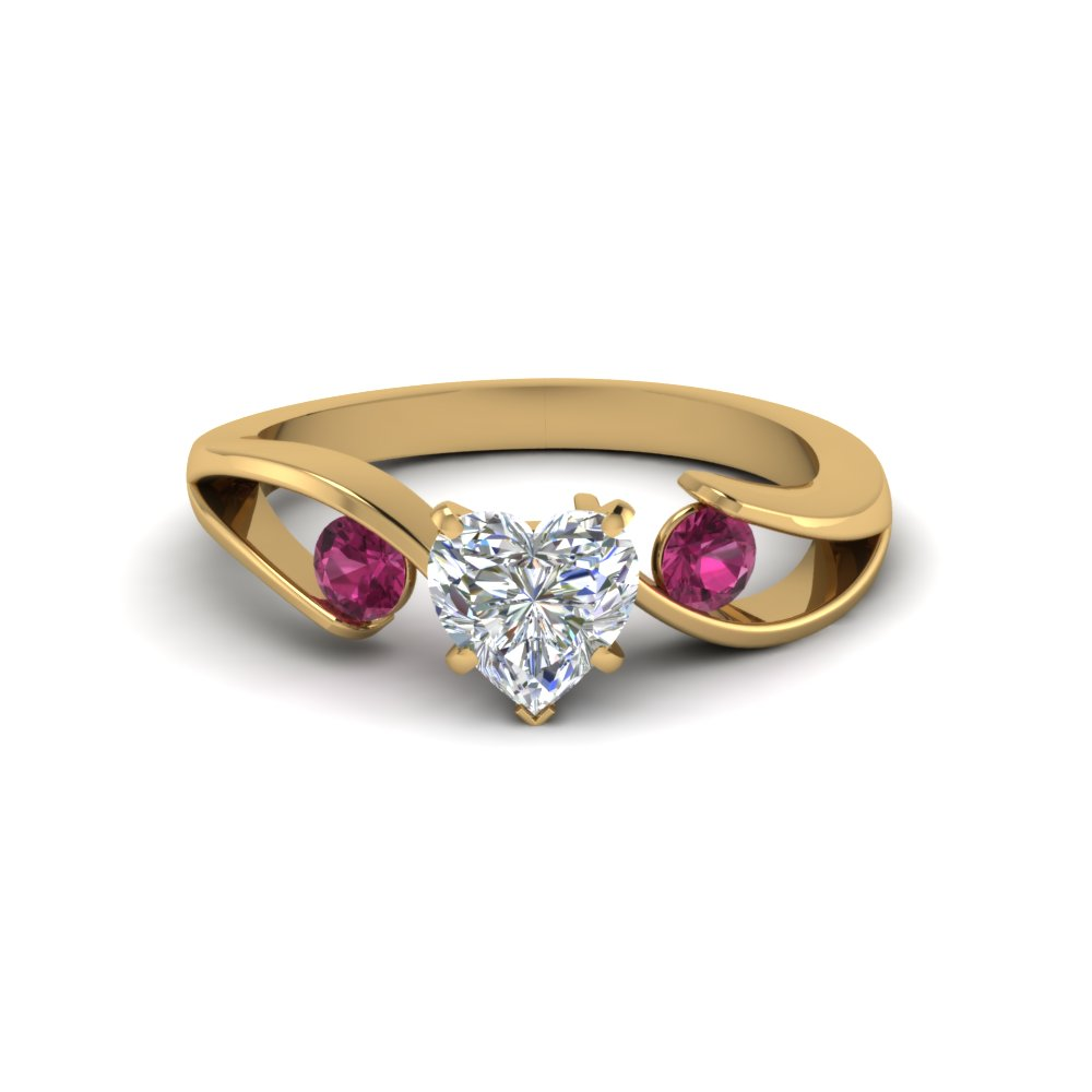 Heart Shaped Diamond 3 Stone Engagement Rings With Pink Sapphire In 14k  Yellow Gold