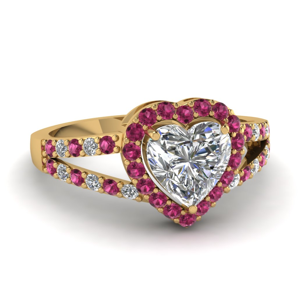 heart halo diamond micro pave ring with dark pink sapphire in 18K yellow gold FD1034HTRGSADRPI NL YG
