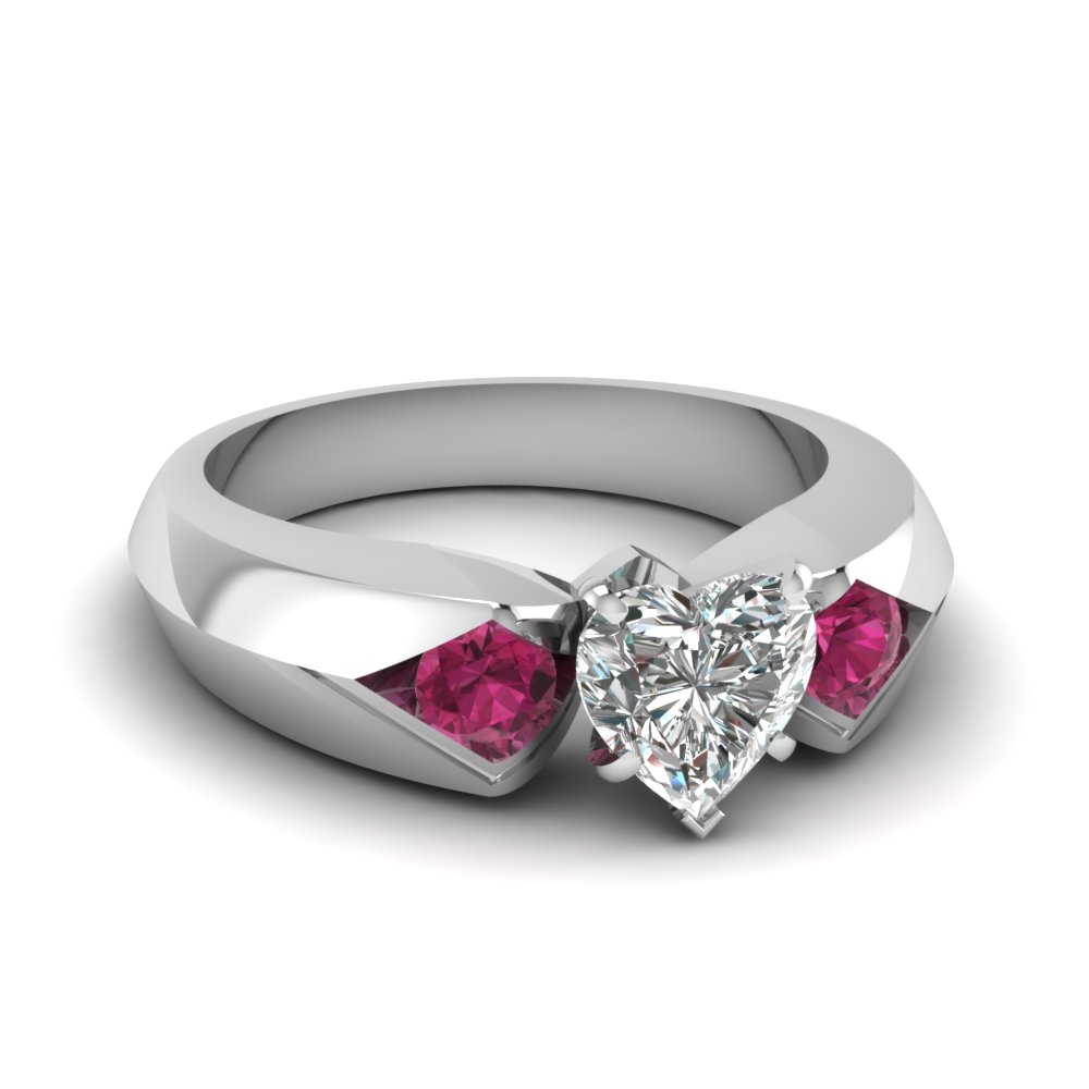 heart shaped knife edge 3 stone engagement ring with pink sapphire in FDENR3059HTRGSADRPI NL WG