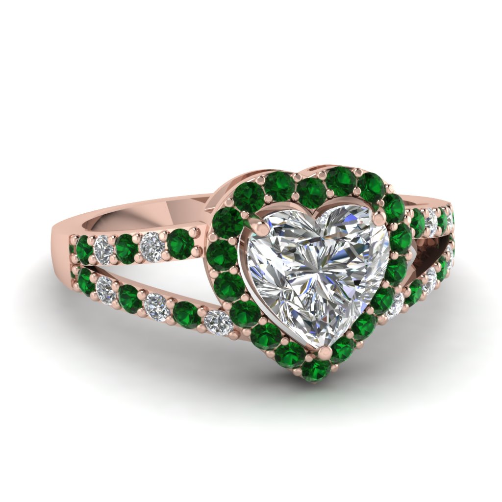 heart shaped diamond engagement ring with green emerald in 14K rose gold FD1034HTRGEMGR NL RG