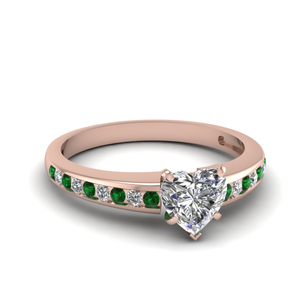 heart channel diamond with emerald ring in FDENS3018HTRGEMGR NL RG