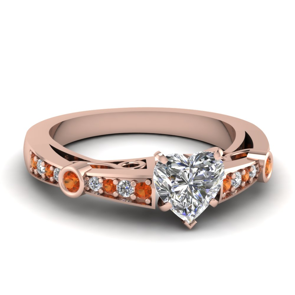 heart shaped tapered vintage engagement ring with orange sapphire in FDENR3142HTRGSAOR NL RG