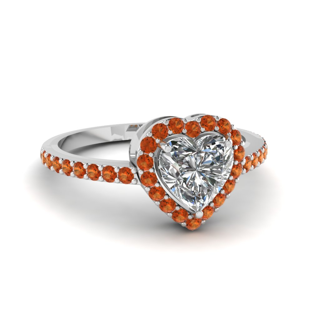 Orange Sapphire Heart Halo Gemstone Engagement Ring