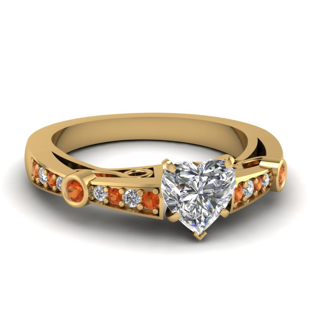 heart shaped diamond tapered vintage engagement ring with orange sapphire in FDENR3142HTRGSAOR NL YG