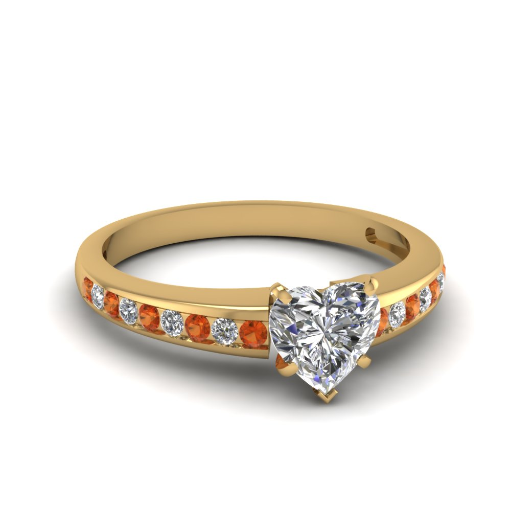 channel set heart shaped diamond engagement ring with orange sapphire in FDENS3018HTRGSAOR NL YG