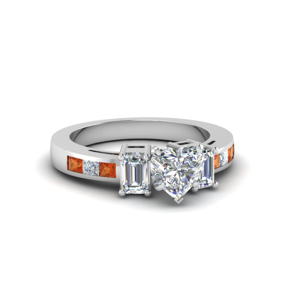Classic Channel Set Princess Accents With Heart Diamond Ring