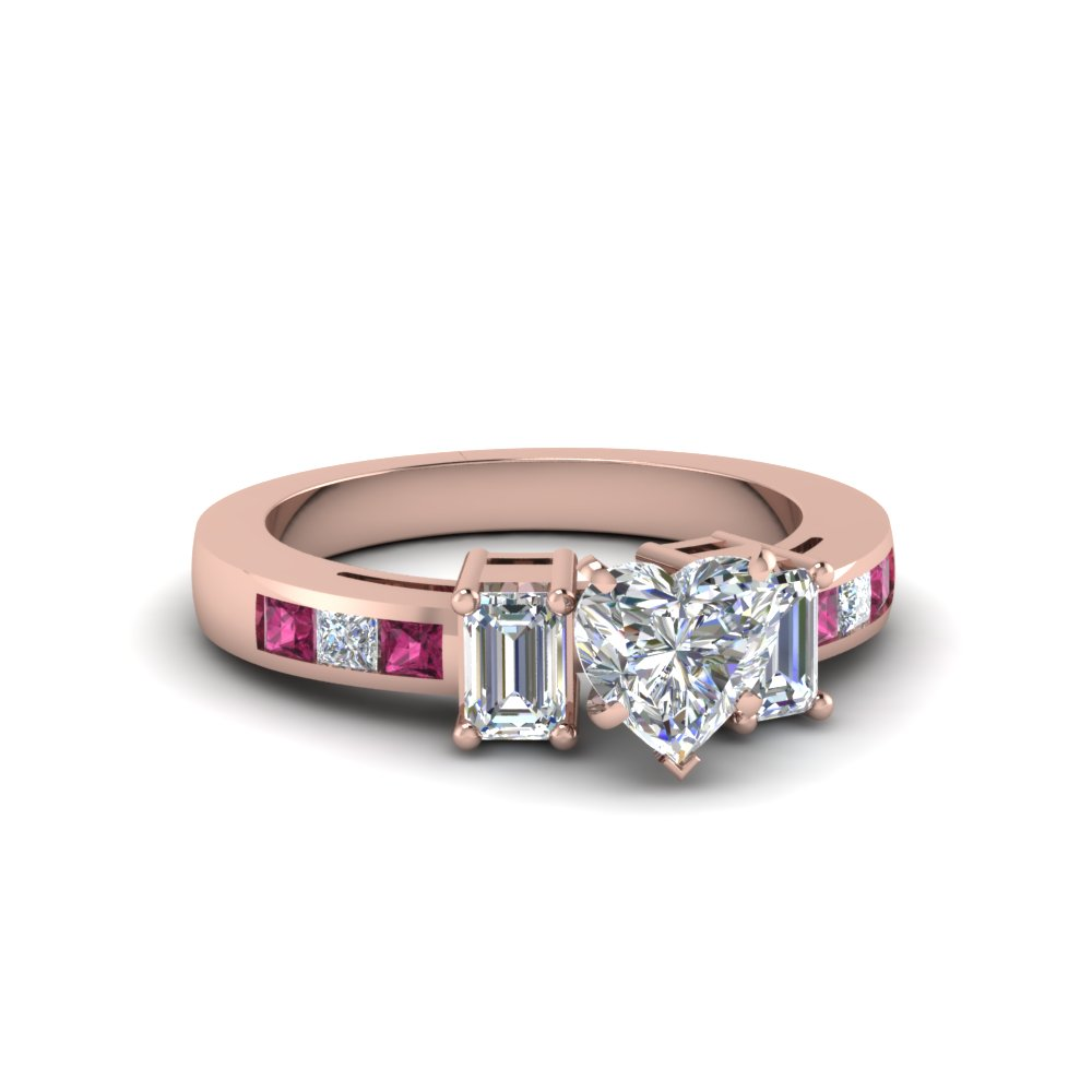 channel set 3 stone heart diamond engagement ring with pink sapphire in FDENS207HTRGSADRPI NL RG