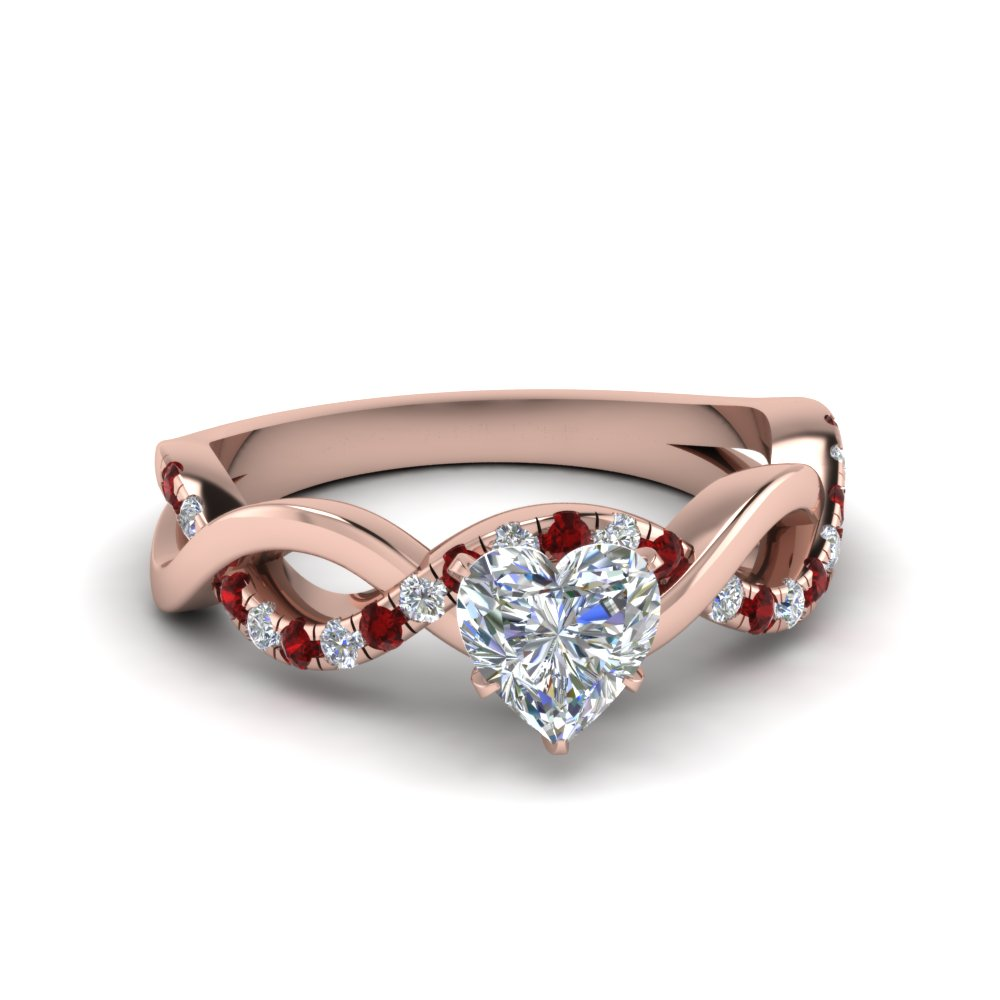 heart shaped infinity diamond engagement ring with ruby in FD1122HTRGRUDR NL RG