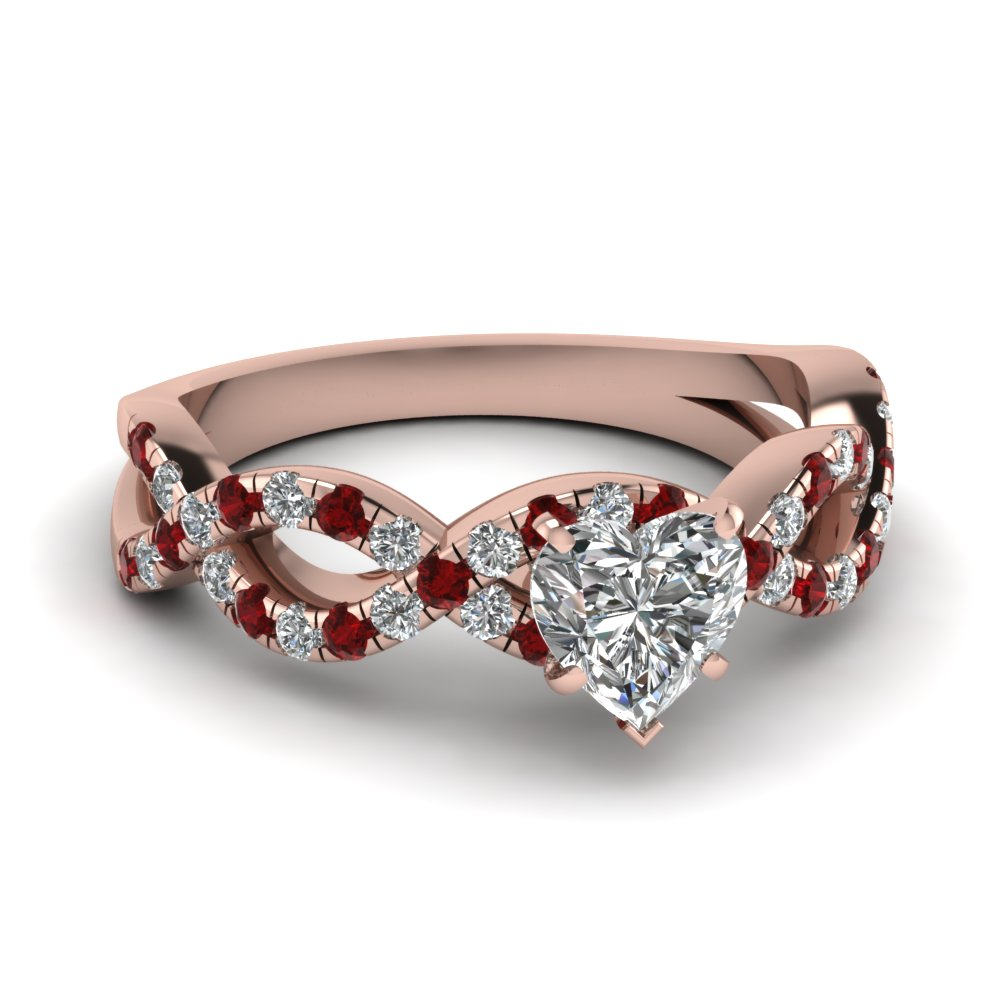 heart shaped infinity diamond ring with ruby in 14k rose gold