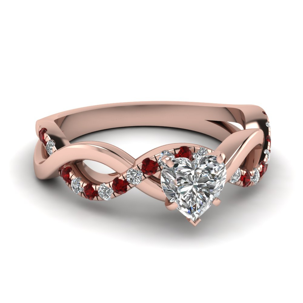 infinity heart shaped diamond engagement ring with ruby in FD1122HTRGRUDR NL RG