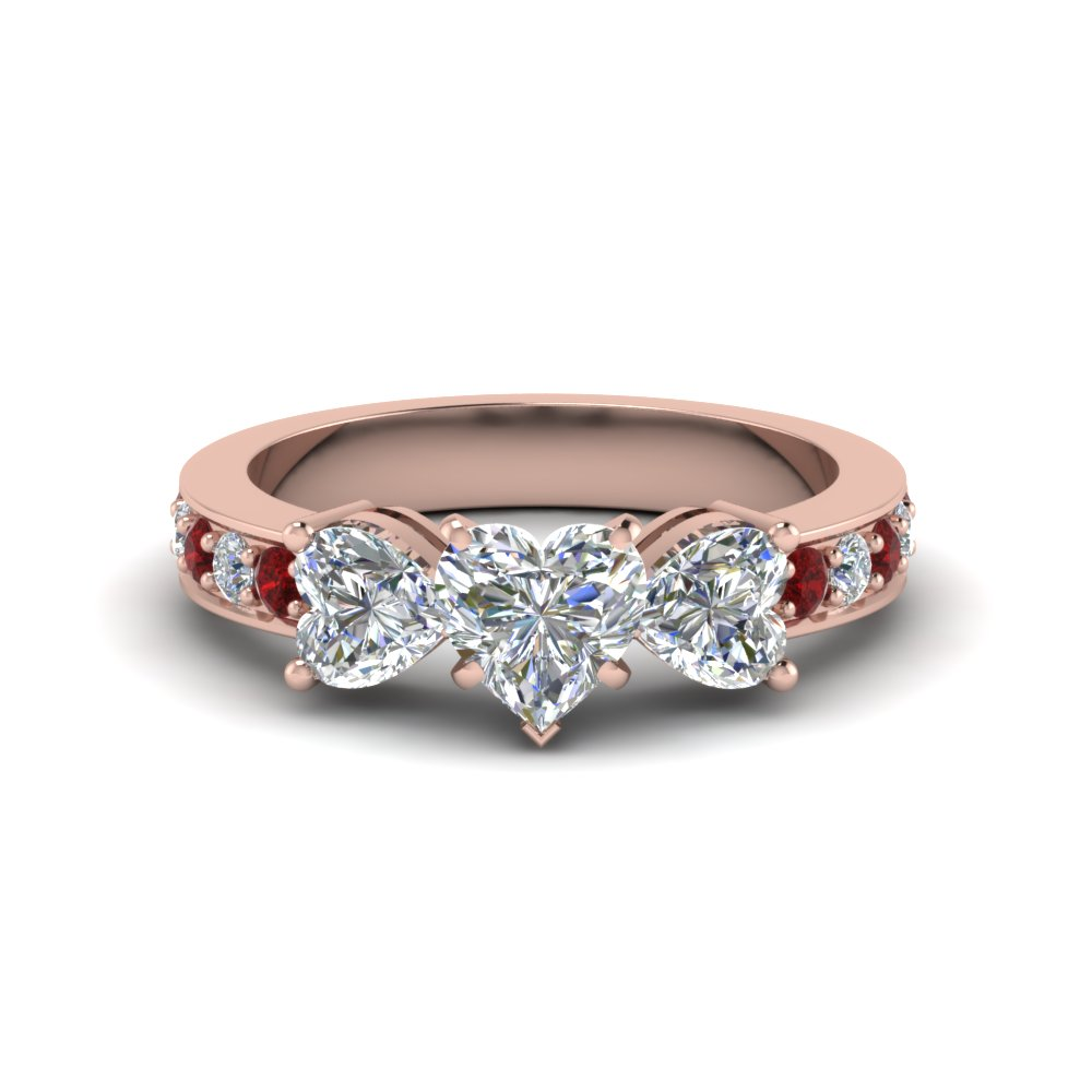 heart shaped pave 3 stone diamond engagement ring with ruby in FD8031HTRGRUDR NL RG