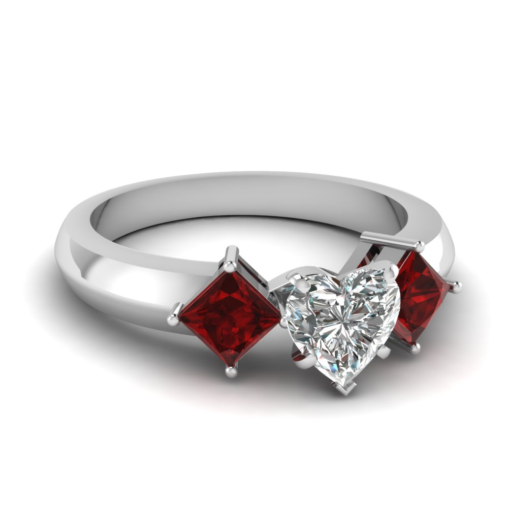 Heart Shaped Diamond 3 Stone Engagement Rings With Red Ruby In 14k White  Gold