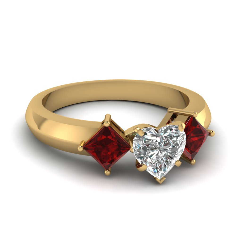kite set 3 stone heart shaped engagement ring with ruby in. Black Bedroom Furniture Sets. Home Design Ideas
