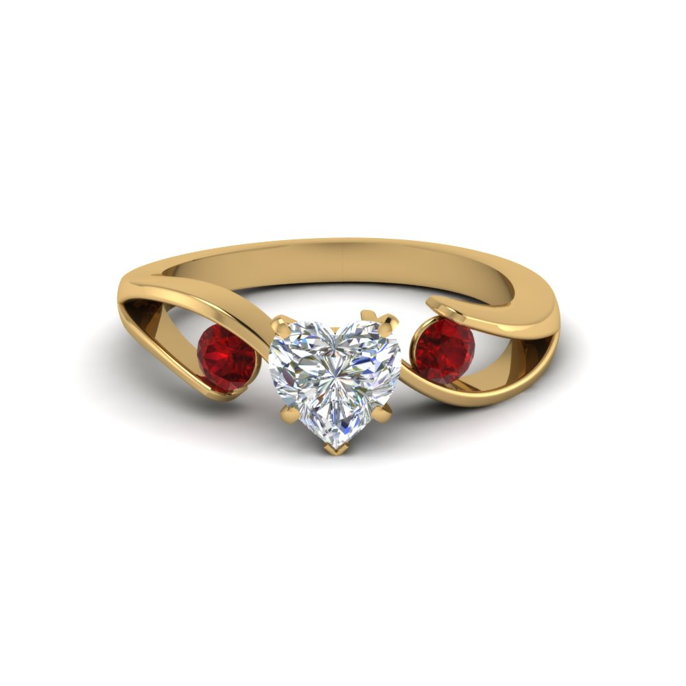 tension set heart shaped 3 stone engagement ring with ruby in FDENR1140HTRGRUDRANGLE1 NL YG
