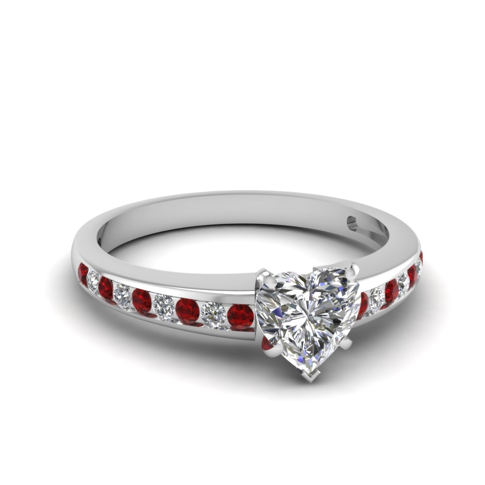 Heart Shaped Diamond With Ruby Timeless Engagement Ring for Women