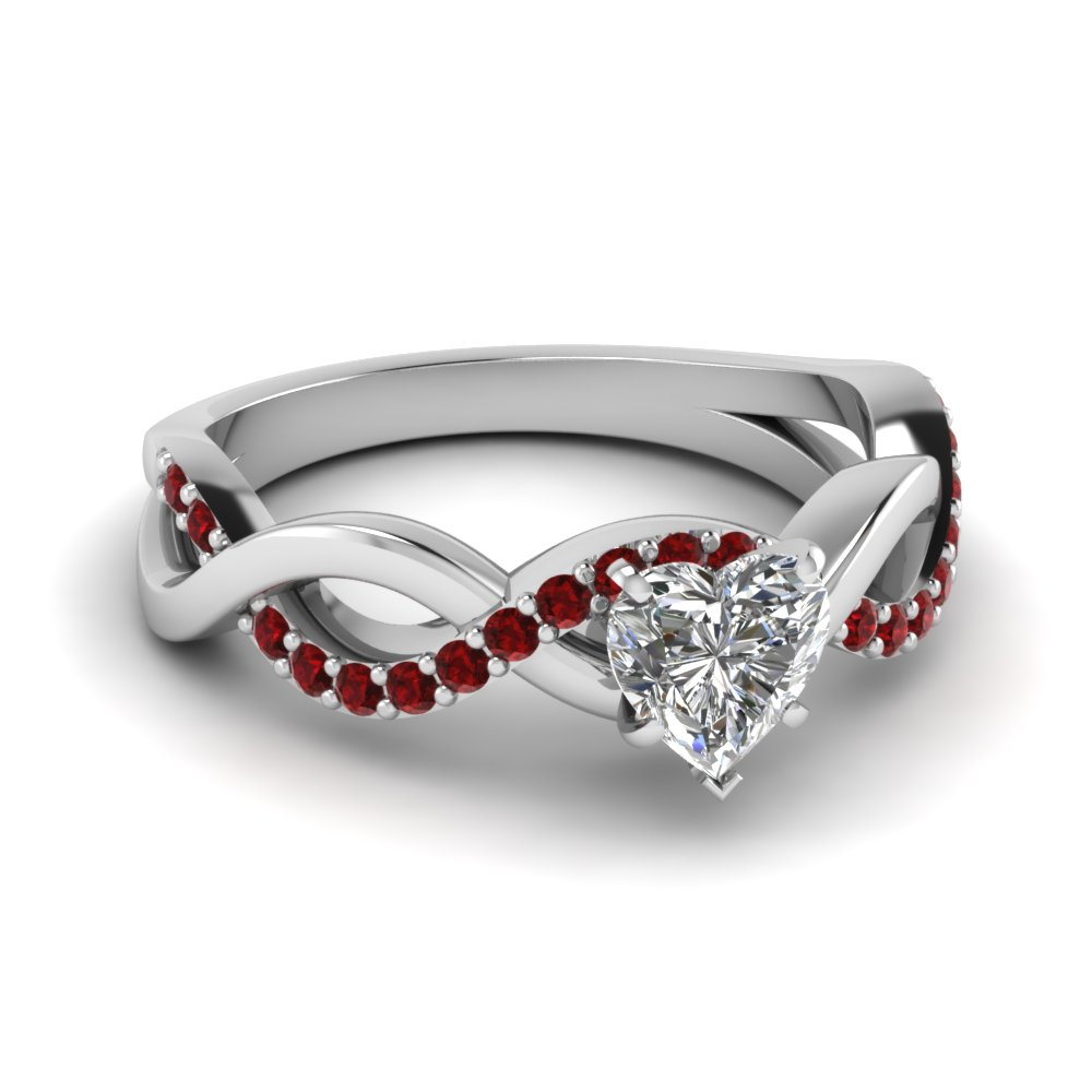 heart diamond infinity wedding ring with ruby in FD1122HTRGRUDR NL WG GS
