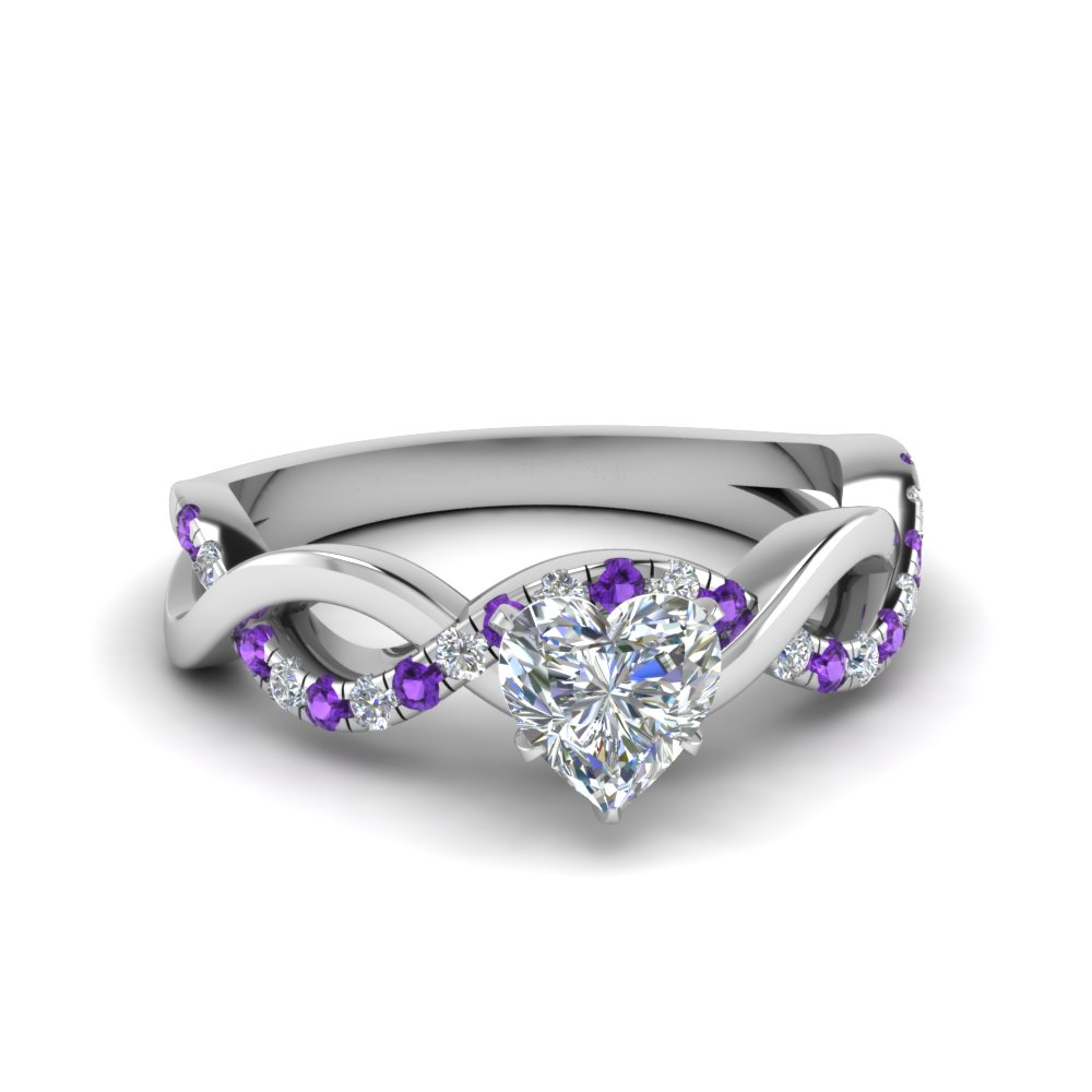 heart shaped infinity diamond engagement ring with violet topaz in FD1122HTRGVITO NL WG