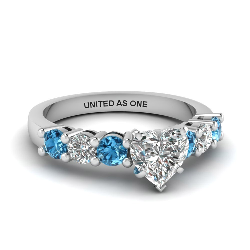 Heart Shaped Basket Prong Diamond Engagement Ring With Blue Topaz In