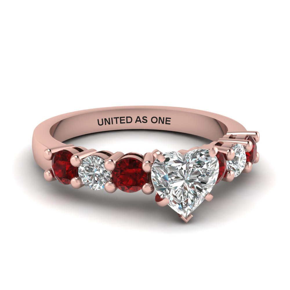 Heart Shaped Ruby Side Stone Rings