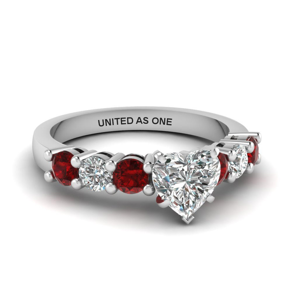 heart shaped basket prong diamond engagement ring with ruby in FDENS141HTRGRUDR NL WG EG