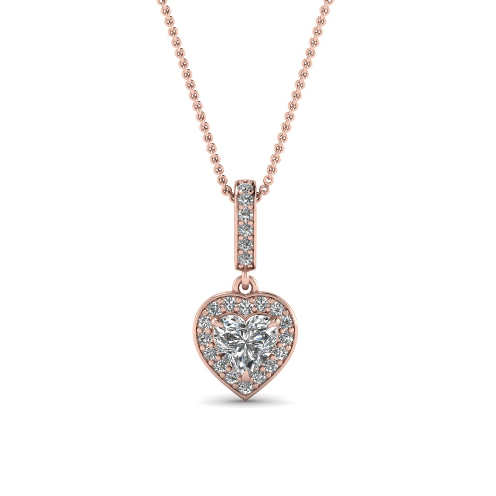 Pave Halo Drop Diamond Pendant