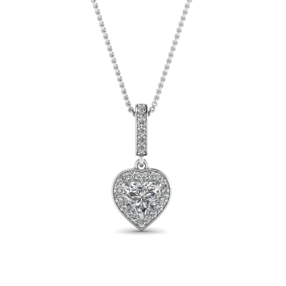 pave heart halo drop diamond pendant in FDPD85656HT NL WG