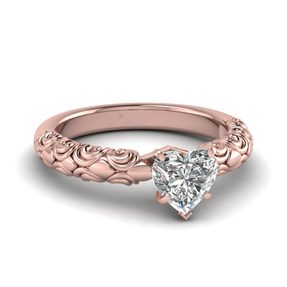 heart shaped diamond filigree accent solitaire engagement ring in FD121974HTR NL RG