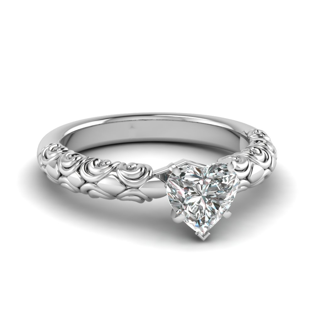 heart shaped diamond filigree accent solitaire engagement ring in FD121974HTR NL WG