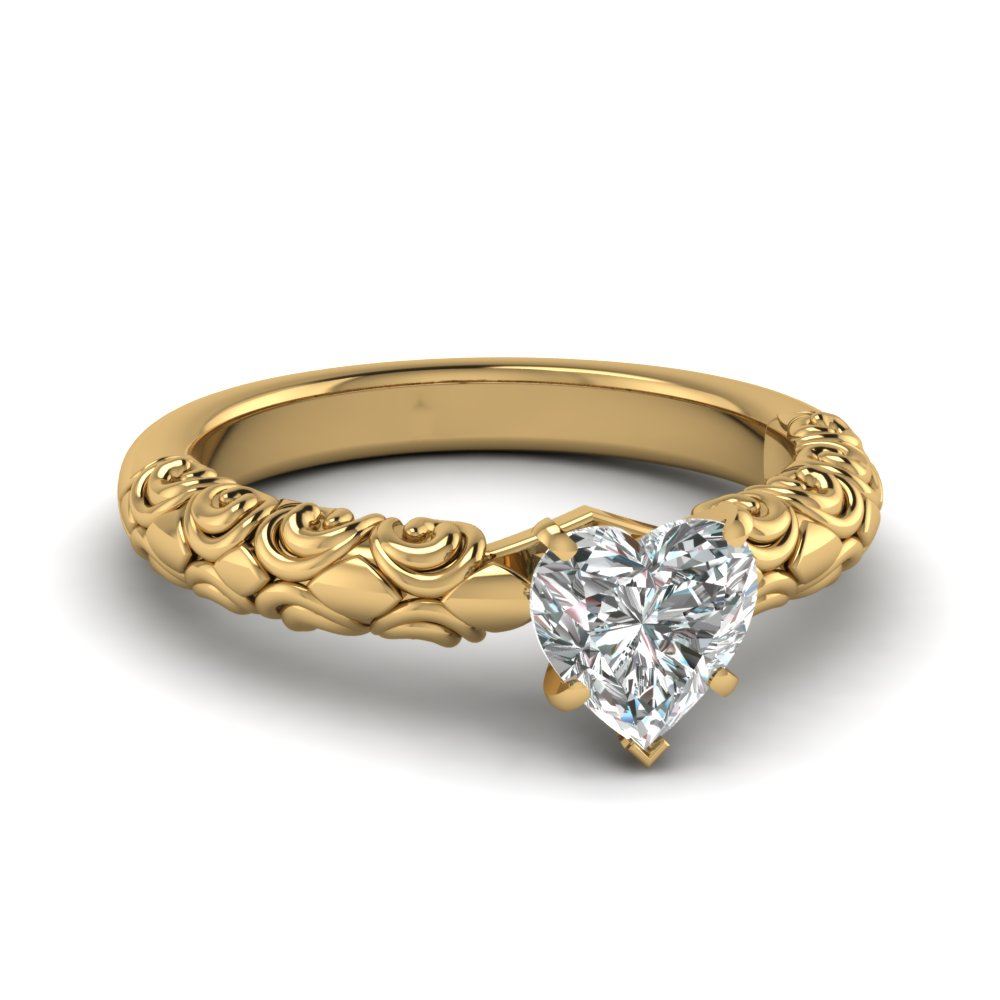 heart shaped diamond filigree accent solitaire engagement ring in FD121974HTR NL YG