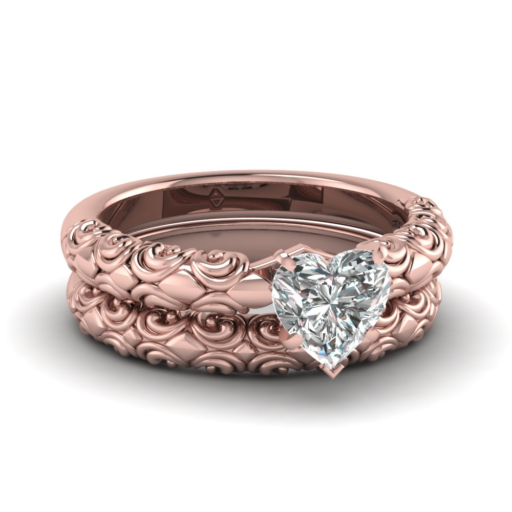 Rose Gold Heart Shaped Solid Filigree Diamond Engagement Ring