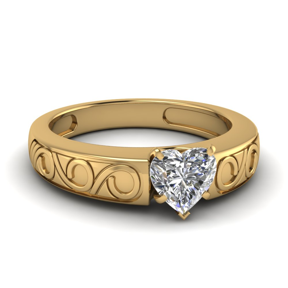 filigree heart shaped solitaire engagement ring in FDENR6668HTR NL YG