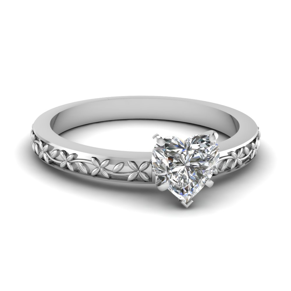 floral engraved heart diamond solitaire engagement ring in FDENS3552HTR NL WG