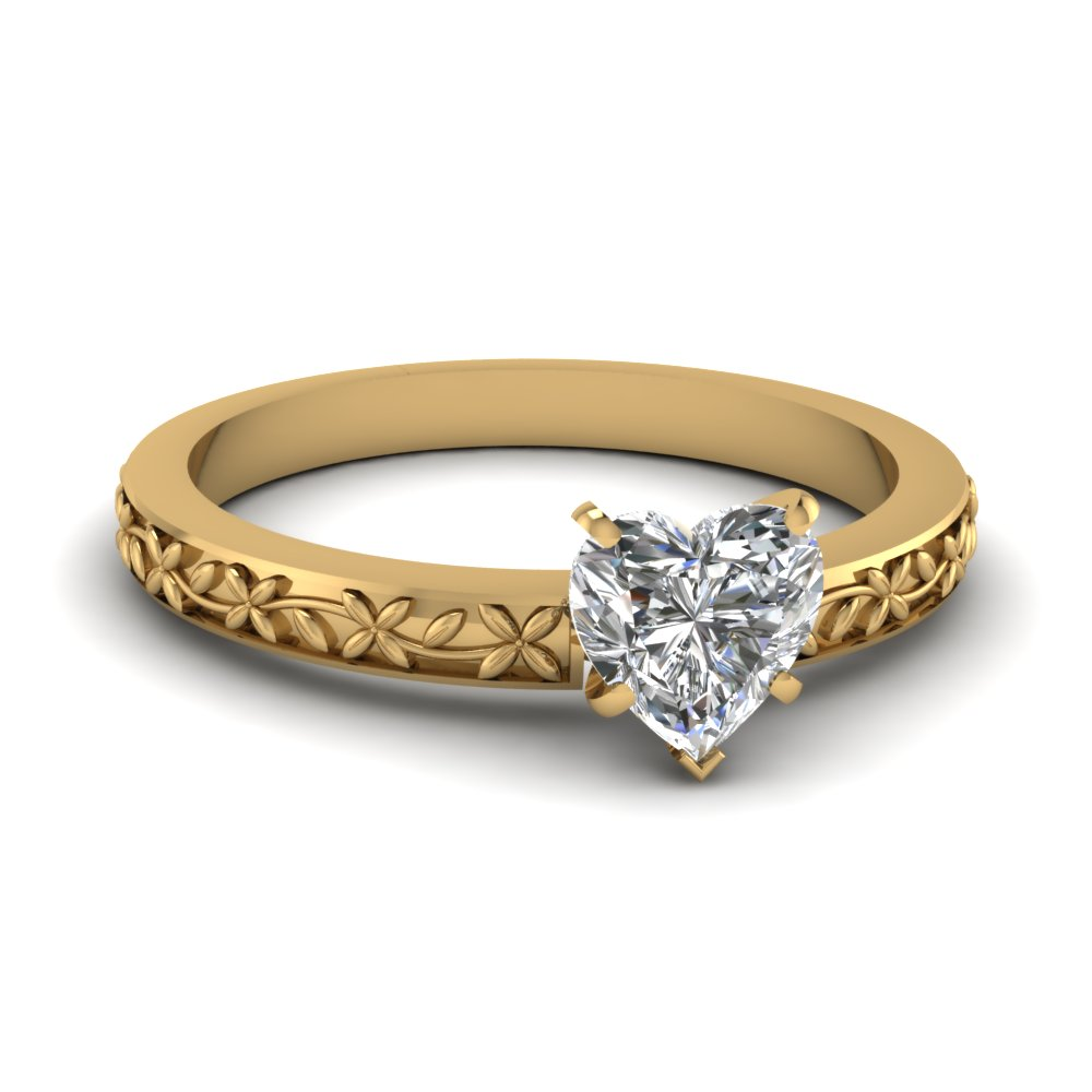 floral engraved heart diamond solitaire engagement ring in FDENS3552HTR NL YG