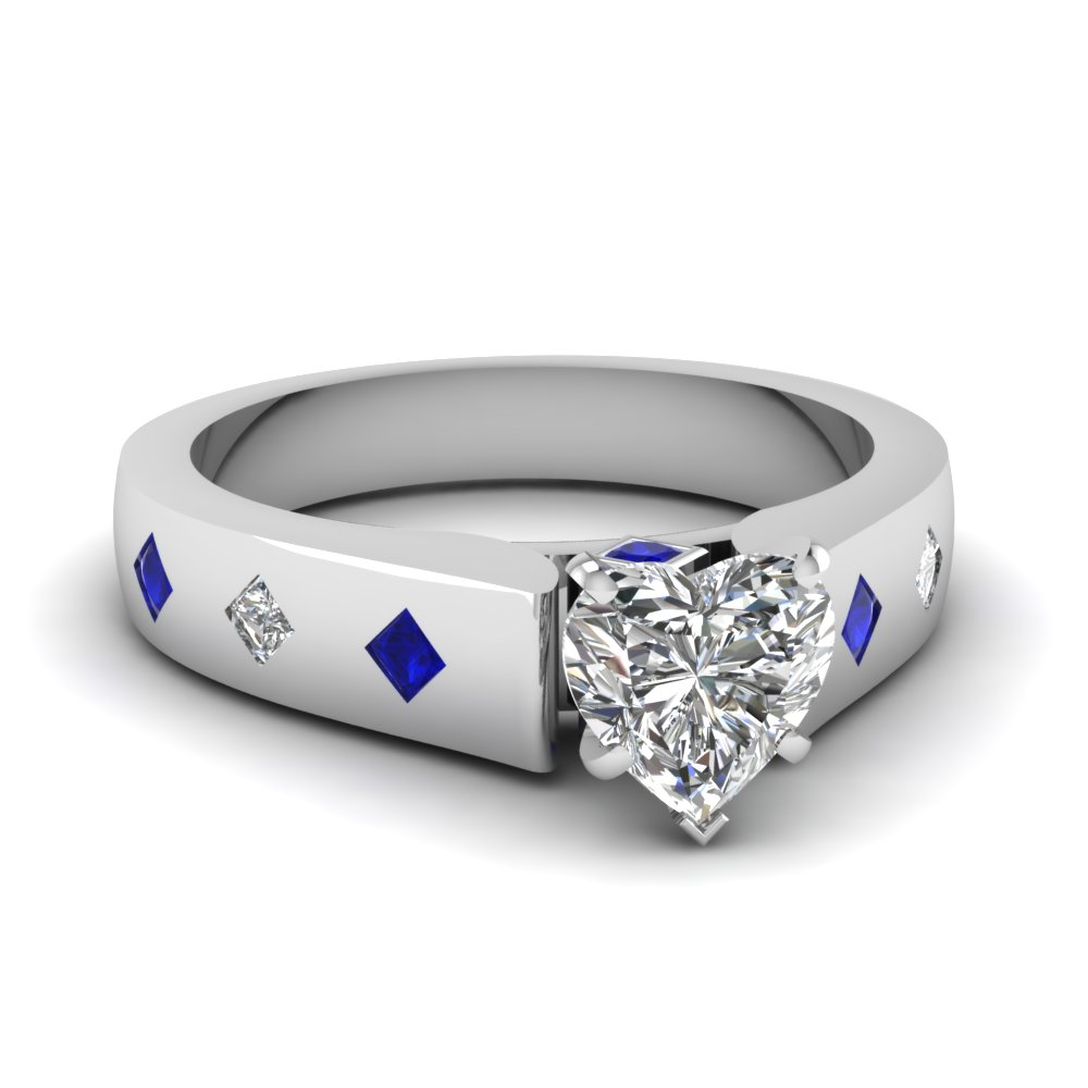flush set cathedral heart shaped moissanite engagement ring with sapphire in FDENR7343HTRGSABL NL WG