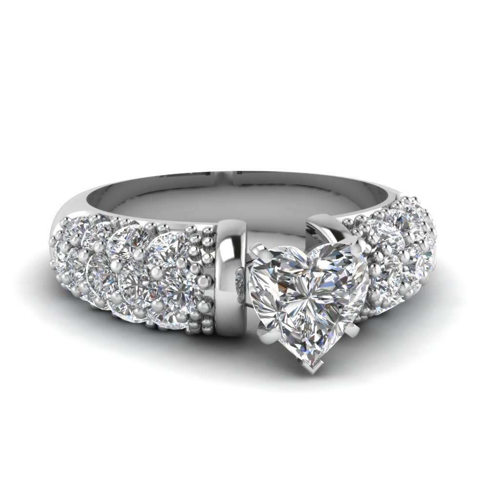 Dome 3 Rows Micropave Set Heart Diamond Engagement Ring