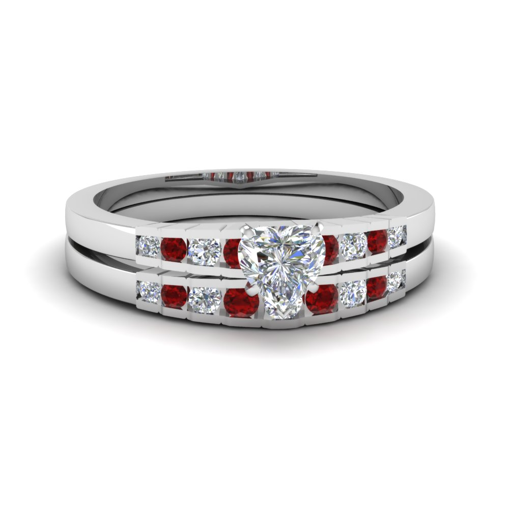 heart shaped diamond graduated accent wedding set with ruby in FDENS3116HTGRUDR NL WG