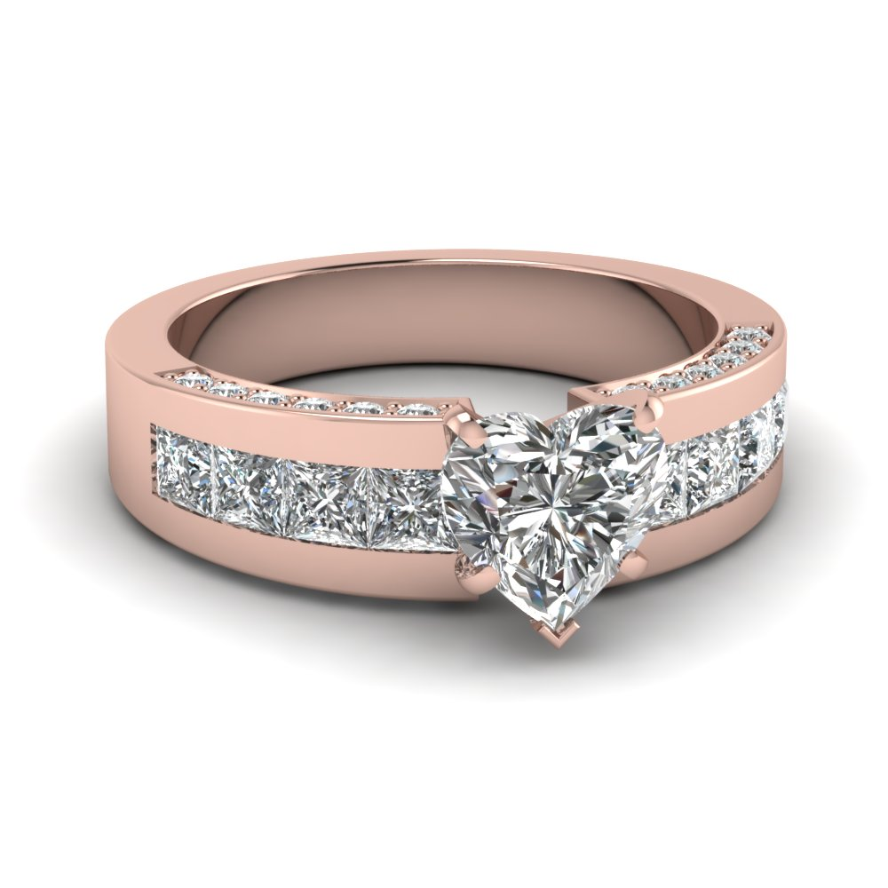 Rose Gold Heart Shaped Engagement Ring With Diamond Shank